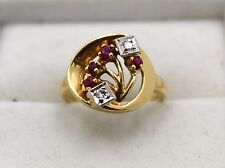 14K Vintage Diamond and Ruby Ring