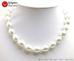 """13*16mm Oval White Sea Shell Pearl Necklace for Women 18"""" Chokers Jewelry ne6587"""