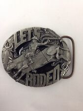 Unworn Usa Bergamot Brass Works A258 Belt Buckle Let's Rodeo Pewter Deep Detail