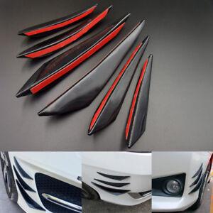 6X Universal Gloss Black Front Bumper Body Fins Spoiler Canards Auto Refit Kit