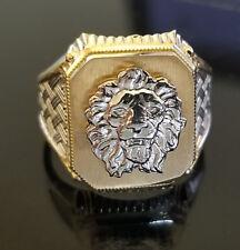 Men's Lion Face Ring 10K Yellow White Gold