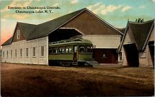 Postcard NY Chautauqua Lake Entrance to Chautauqua Grounds Streetcar C.1910 F9