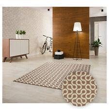 Kurzflor Teppich Wohnzimmer Beige Modern Pflegeleicht Gummiunterlage Rutschfest