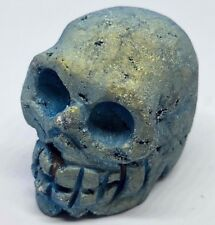 Crâne de Pierre Précieuse Bleu Vert Druzy Geode Quartz 128g 42x36,5x51 mm Pièce