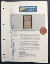 Olympics Roma 1960 Italia Italy Gold stamp 99,8% Goldauflage Only 4.999 MNH 2/10
