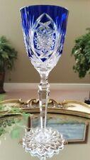 VINTAGE Val St Lambert Cobalt Blue Cased Cut to Clear Crystal Wine Water Goblet