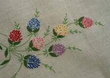 """Vintage Linen Table Runner Embroidered Thistle Flowers Pink Blue Lace Edge 45"""""""