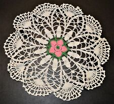 """White Doily with Green & Pink. About Round 12"""" or 28cm. See 6 pictures"""