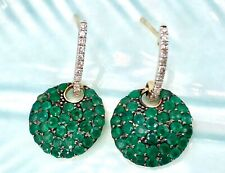 Genuine Emerald & Diamond Pave Solid 14k Yellow Gold Dangle Earrings, New