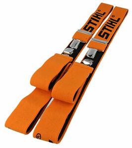 GENUINE STIHL ORANGE AND BLACK CLIP ON TROUSER BRACES 110cm - 00008841510