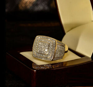 Men's 2.50 Ct Round Cut Diamond Cluster Wedding Band Ring 14k Yellow Gold Over