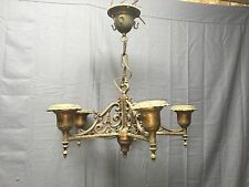 Antique Brass Ornate Victorian Chandelier Bare Bulb Light Fixture Old 404-17E