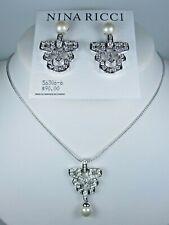 "Earrings with Swarovski Crystals 16-18"" 1885 Nina Ricci Rhodium Plated Pendant &"