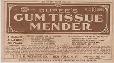 RARE 1909 DUPREE'S GUM TISSUE MENDER ADVERT ON ENVELOPE - REPAIRS CLOTHING ETC