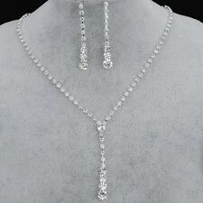Bridal Alloy Silver Plated Drop CZ Necklace, Dangle Earrings Wedding Jewelry Set