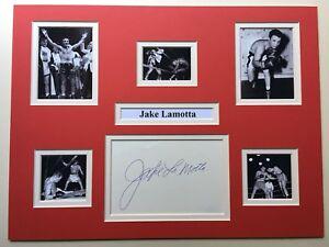 "Boxing Jake Lamotta Signed 16"" X 12"" Double Mounted Display"