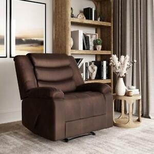 Lifestyle Solutions Hudson Single Chair Microfiber Manual Recliner, Cedar Brown
