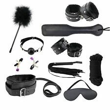Hot 10 PCS Sex Toys Handcuffs Whip Mask Nipple Clamps Spanking MouthGag for Love