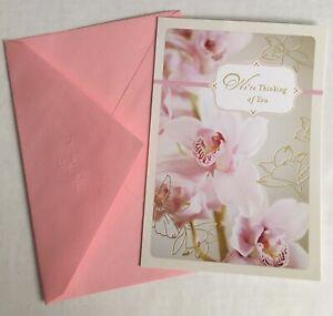 NEW Hallmark CONDOLENCES Floral Orchids Greeting Card & Envelope