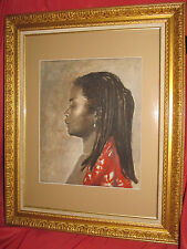 Superbe portrait africaniste par Denis Geoffroy Dechaume 1922-2009