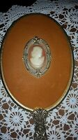 Vintage 24K Gold Plated Vanity Set Hand Mirror & Hair Brush Suede back Cameo