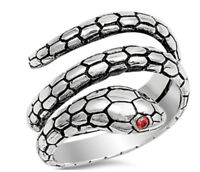 Sterling Silver 925 SNAKE DESIGN WITH GARNET CZ RING 15MM SIZES 6-11