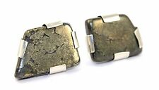 BIG Vtg CODY STONE QUARTZ Sterling Silver Modernist GEM SLAB Cufflinks HEAVY!