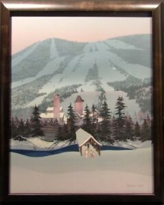 """Michael Atkinson""""Untitled/ Vail"""" Ski, Mountain with Custom Frame Hand Signed"""