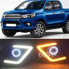 2x CAR-Specific LED Daytime Running Light for Toyota Hilux Vigo 2015 Yellow turn