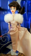 Barbie Doll Enchanted Evening Pink Satin Gown & Fur Brunette Mattel Reproduction