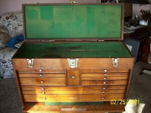 Antique Large Gerstner Style 52 Machinist Tool Chest, 11 Drawers, Oak Chest VGC