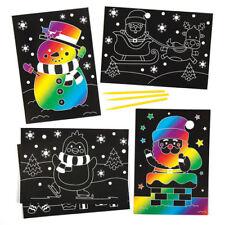 La vendita!!! 6 Natale Scratch Art foto fogli prestampati Bambini Craft Babbo Natale Pupazzo di neve