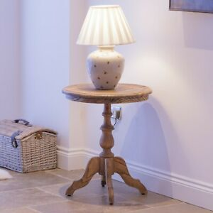 Aged Lourdes Rustic Wooden Round Pedestal Occasional Table Wine Side Lamp Table