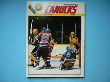 1985/86 VANCOUVER CANUCKS VS EDMONTON OILERS PROGRAM ANDY MOOG CHARLIE HUDDY