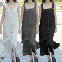 Plus Size Women Pockets Holiday Long Dress Ladies Summer Beach Cotton Maxi Dress