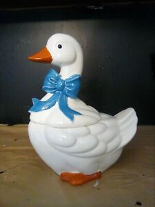 "1984 Vintage Ceramic White Goose Duck Blue Bow Cookie Jar 13.5"" Tall"