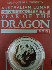 2012 Australian lunar Silver coin Series II year of the Dragon Gilded versión