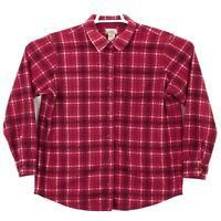 LL Bean Womens Button Up Fleece Shirt Size Medium Purple Plaid Free Shipping euc