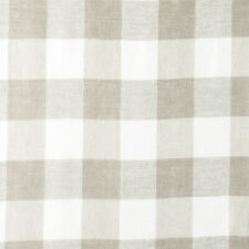 LINEN 100% CHAMBRAY YARN DYED FABRIC VINTAGE PLAID STRIPE SOLID MATCHING BEIGE