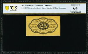 FR 1282spnmb - 25 CENT 1ST ISSUE SPECIMEN - TABACCO FAMILY COLLECTION - PCGS 64