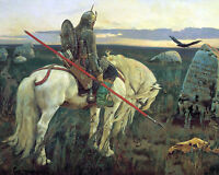 Germanic Tribe Knight On Horse German Viking Painting Canvas Giclee Art Print