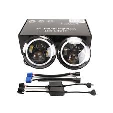 "2PC 7"" Round 40W LED Halo Angel Eyes Headlight For Jeep Wrangler TJ LJ CJ JK"