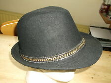 Magid Hats Fedora Style Hat  w/Chain Band ONE SIZE Black/Gold Mix BNWoT