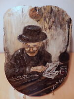 Peinture sur ardoise ou lauze signé délichet ancien lisant son journal français