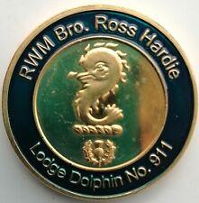 MASONIC MARK TOKEN PENNY LODGE DOLPHIN No 911 R HARDIE INSTALLATION 2014 ENAMEL