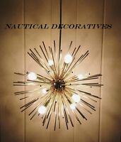Mid Century Modern Brass Finish Sputnik Urchin Chandelier Light Fixture 8 Light