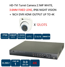 12 LOT HD-TVI Turret Camera 2.1MP, 3.6MM FIXED LENS, NIGHT VISION + 16CH DVR #AS