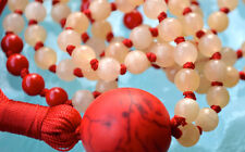 Royal Imperial Topaz Red Coral Howlite Hand Knotted 108 Nirvana Beads Necklace