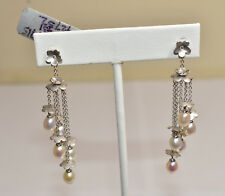 18K White Gold Dangle Earrings with Flowers, Diamonds & Freshwater Pearls
