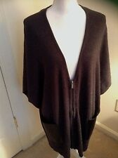LOFT Zipper Sleeveless Cardigan Sweater Cape Faux Leather Pockets Size M/L NWT